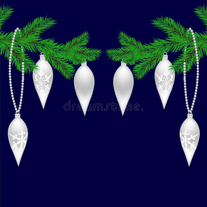 Dos ramas verdes del abeto con los juguetes por el Año Nuevo Ramas spruce de la Navidad Aislado en un fondo azul Navidad libre illustration