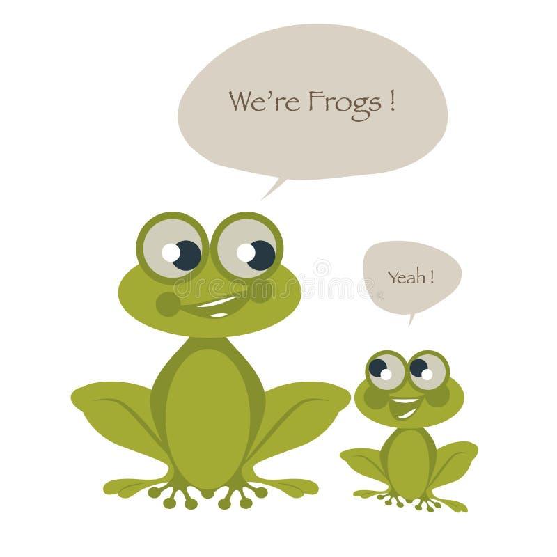 Dos ranas lindas aisladas en el fondo y los globos de discurso blancos Ilustración del vector libre illustration