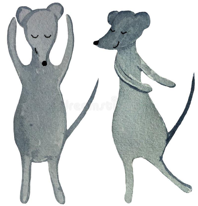 Dos ratas de baile de la historieta en un fondo blanco ejemplo de la acuarela para el diseño de carteles, impresiones, tarjetas,  imagen de archivo