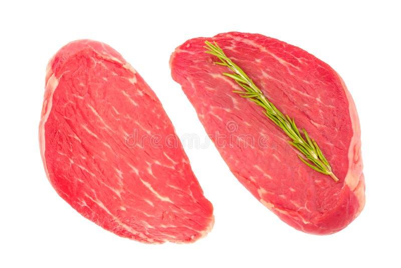 Dos rebanadas de carne fresca de la carne de vaca imagenes de archivo