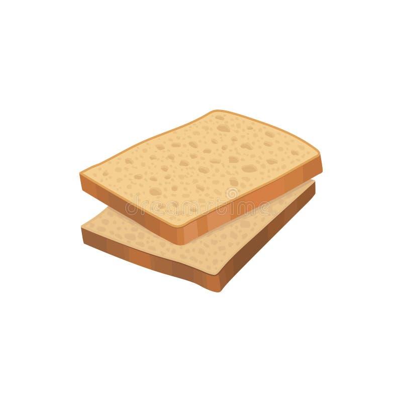 Dos rebanadas de pan fresco detallado del pan del trigo Elemento plano de la historieta para el promo de la tienda, cartel, menú  stock de ilustración