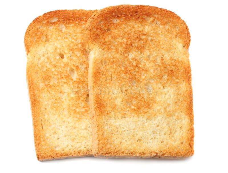 dos rebanadas tuestan el pan aislado en el fondo blanco fotografía de archivo libre de regalías
