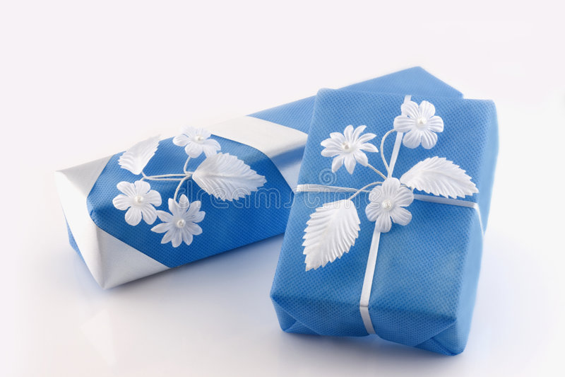 Dos rectángulos de regalos imágenes de archivo libres de regalías