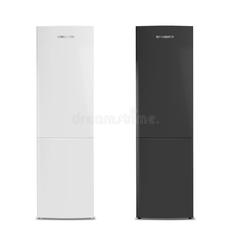Dos refrigeradores cerrados, blanco y negro libre illustration