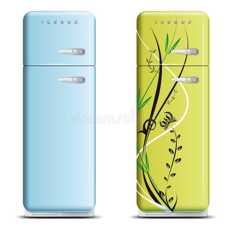 Dos refrigeradores retros ilustración del vector