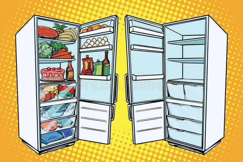 Dos refrigeradores Uno con la comida y el otro vacío stock de ilustración