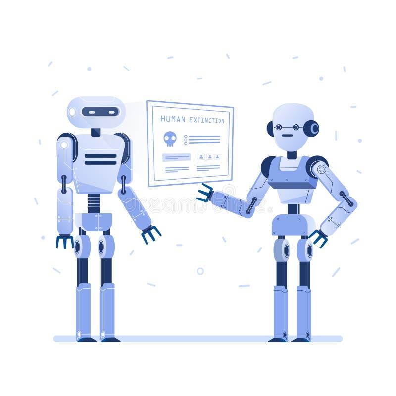 Dos robots examinan el interfaz virtual del hud ilustración del vector