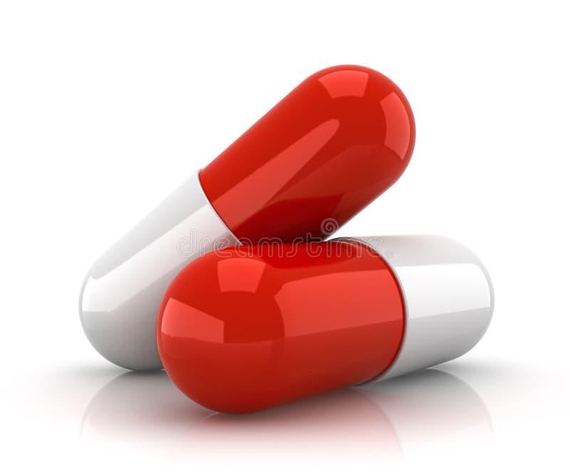 Dos rojos y píldoras blancas - 3d rinden stock de ilustración