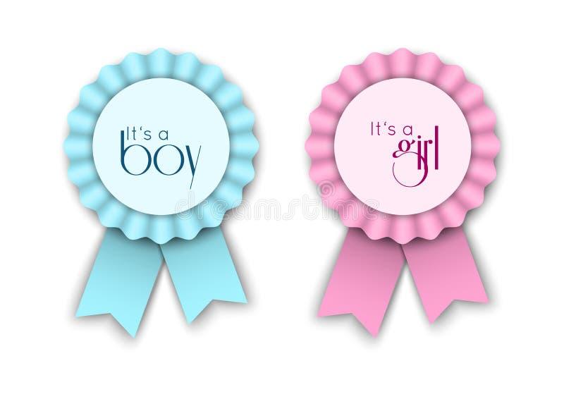 Dos rosetones de la cinta para el bebé recién nacido ilustración del vector