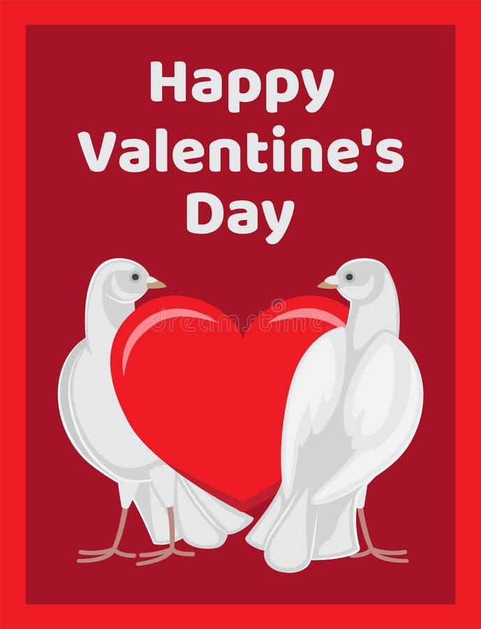 Dos símbolos rojos del corazón de los soportes de las palomas del amor eterno stock de ilustración