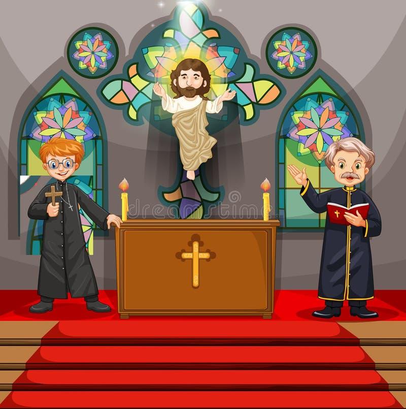 Dos sacerdotes en la iglesia stock de ilustración