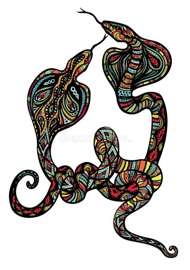 Dos serpientes adornadas ilustración del vector