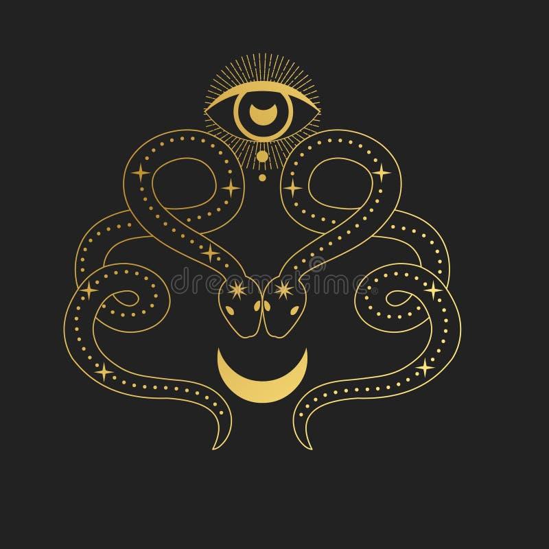 Dos serpientes con la luna Ilustración drenada mano del vector libre illustration