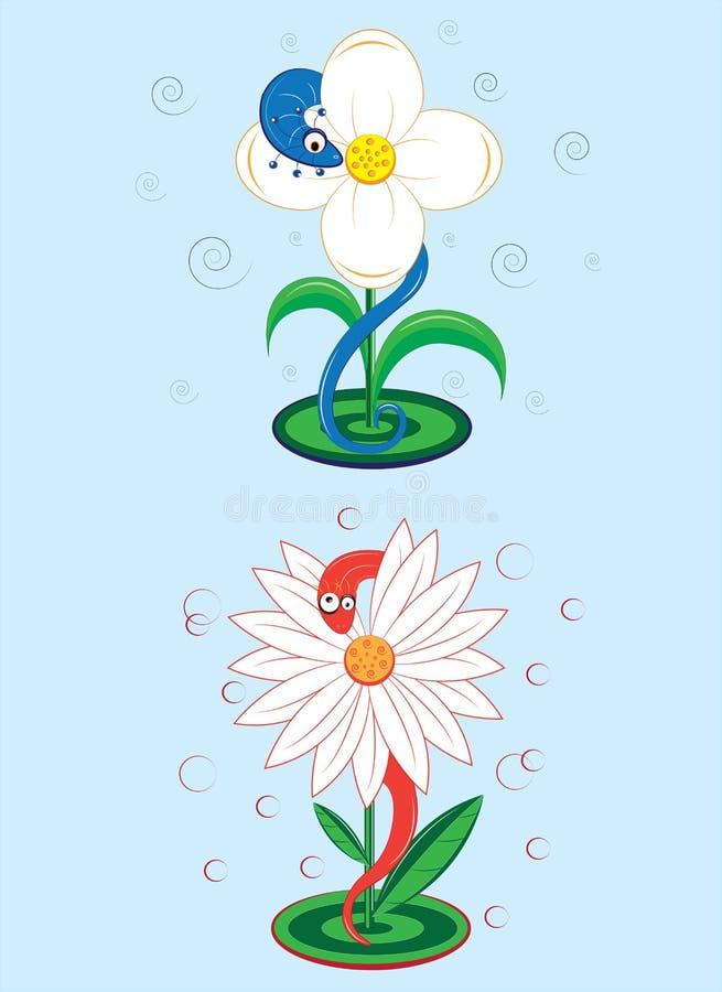 Dos serpientes se sientan en las flores blancas stock de ilustración