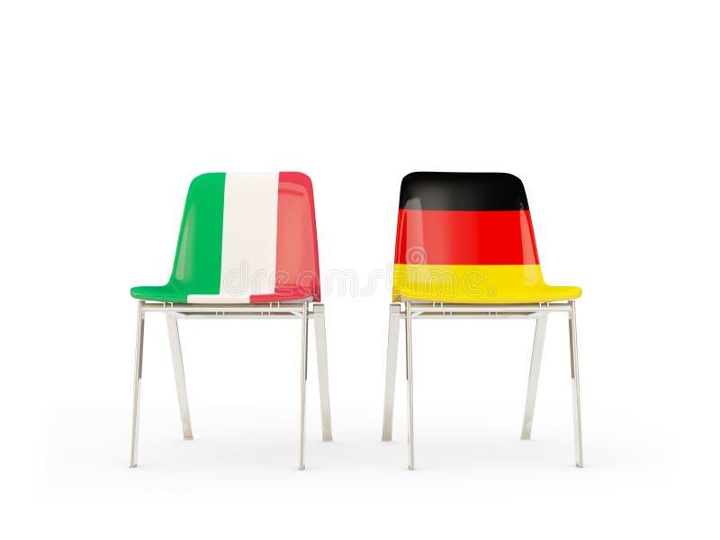 Dos sillas con las banderas de Italia y de Alemania stock de ilustración