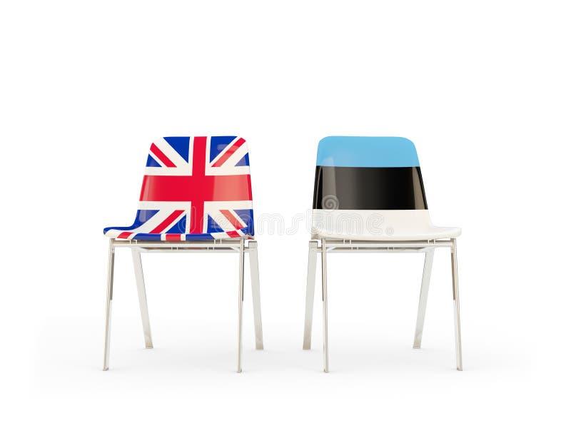 Dos sillas con las banderas de Reino Unido y de Estonia aislados en blanco libre illustration