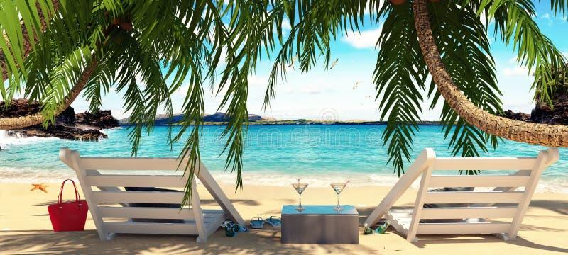 Dos sillas debajo de las palmeras con la hermosa vista del mar libre illustration