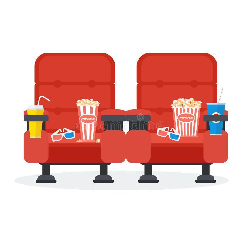 Dos sillas del cine stock de ilustración
