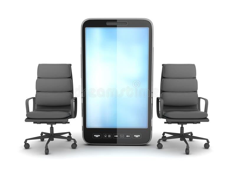 Dos sillas del negocio y teléfono móvil stock de ilustración