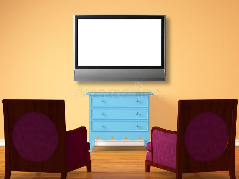 Dos sillas enfrente de la cabecera de madera con el lcd TV stock de ilustración