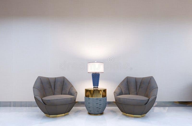 Dos sillas modernas contra la perspectiva de una pared vacía con una tabla del diseñador y una lámpara de escritorio pared de la  ilustración del vector