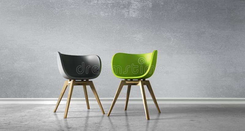 Dos sillas opuestas en un cuarto - discusión del concepto stock de ilustración
