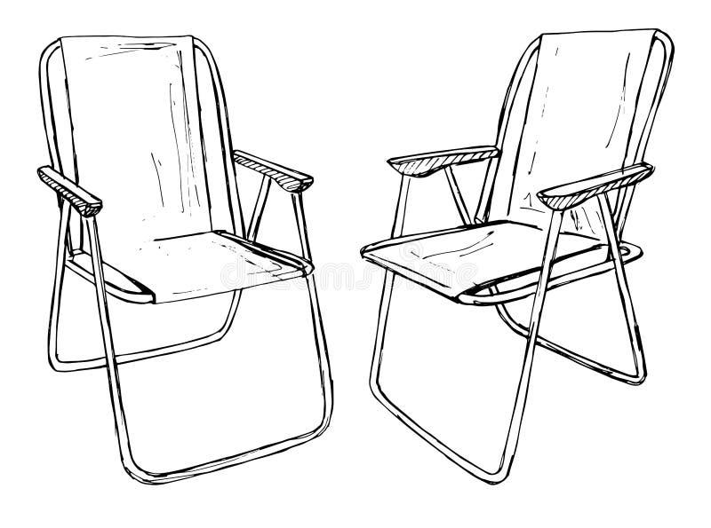Dos sillas plegables en un aislamiento blanco del fondo Ejemplo del vector en un estilo del bosquejo ilustración del vector