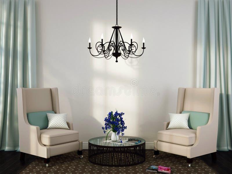 Dos sillas y mesas de centro elegantes ilustración del vector