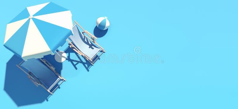 Dos sillas y paraguas de playa en el fondo azul, concepto del verano stock de ilustración