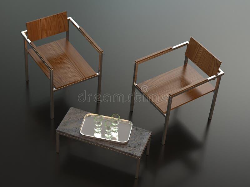 Dos sillas y vectores del diseñador stock de ilustración