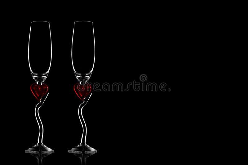 Dos siluetas de los vidrios para el champán foto de archivo libre de regalías