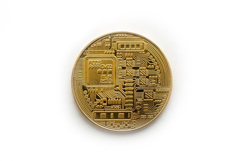 Dos simple de bitcoin sur le fond blanc photographie stock libre de droits