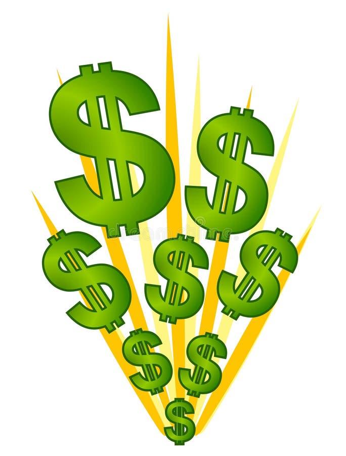 Dos sinais dólares da explosão do dinheiro ilustração do vetor