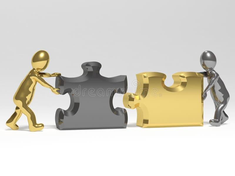 Dos sirve la realización de rompecabezas stock de ilustración