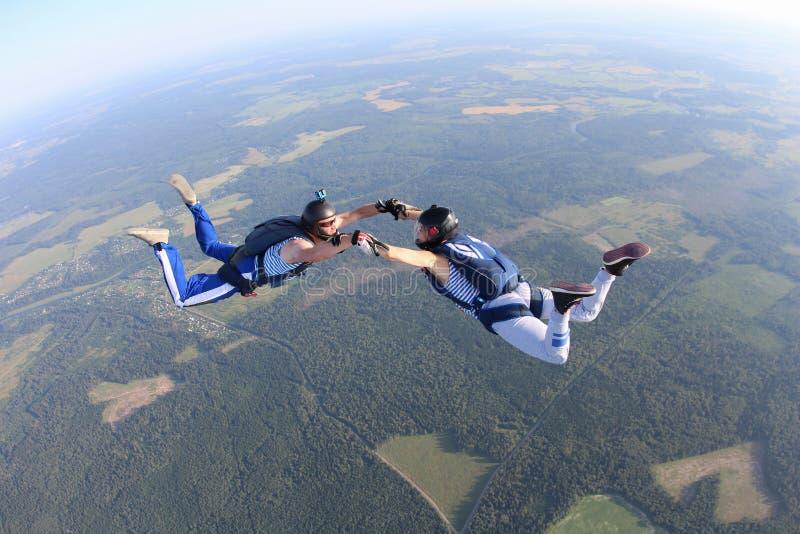 Dos skydivers en camisetas rayadas están volando en el cielo fotos de archivo