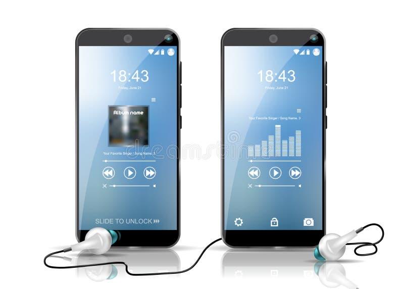 Dos smartphones que muestran las salvapantallas y los auriculares del reproductor de audio Plantilla detallada bien stock de ilustración