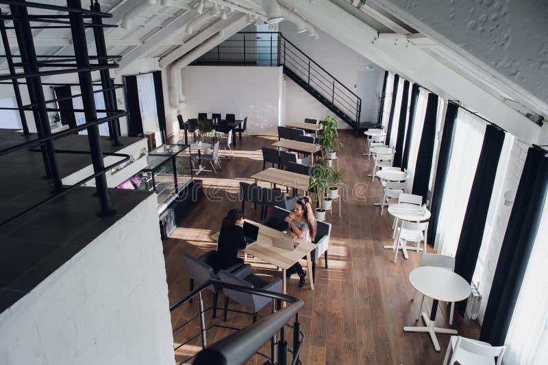 Dos socios comerciales que se sientan en el escritorio en oficina y que obran recíprocamente fotos de archivo libres de regalías