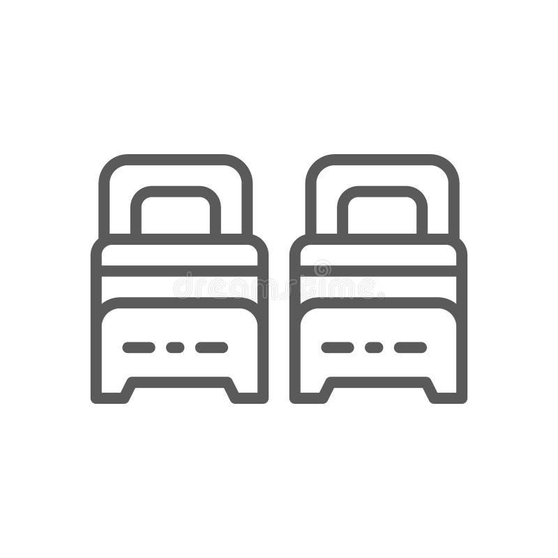 Dos solas camas alinean el icono stock de ilustración