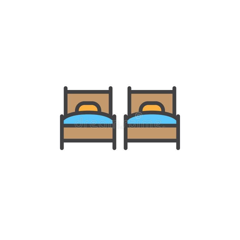 Dos solas camas alinean el icono, muestra llenada del vector del esquema, pictograma colorido linear aislado en blanco stock de ilustración