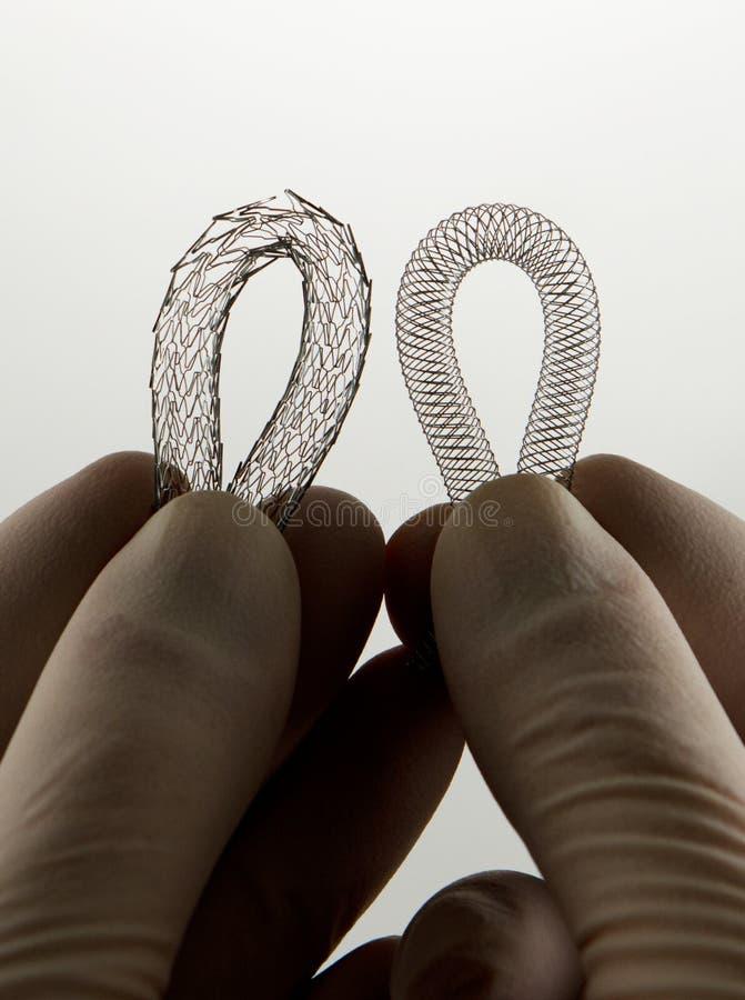 Dos stents para la cirugía endovascular fotos de archivo libres de regalías