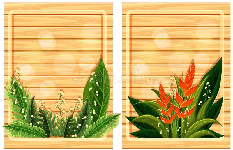 Dos tableros de madera con los marcos de la flor ilustración del vector