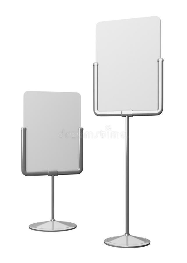 Dos tableros en blanco en los polos para poner precio imágenes de archivo libres de regalías