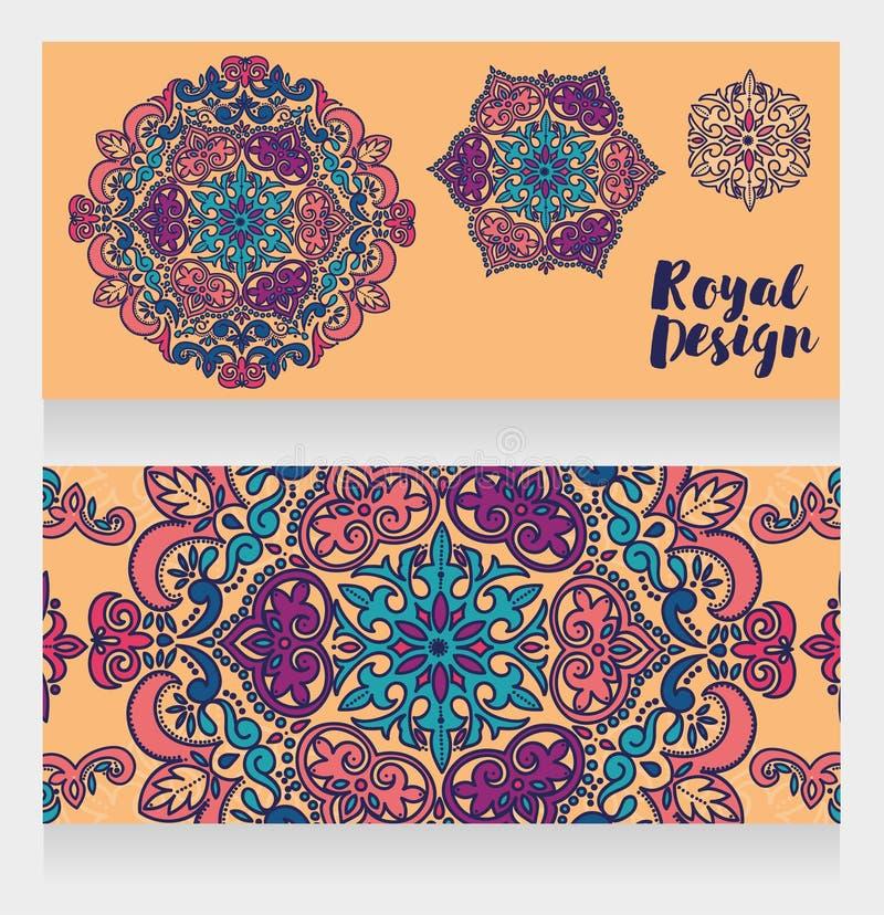 Dos tarjetas con los ornamentos coloridos hermosos stock de ilustración