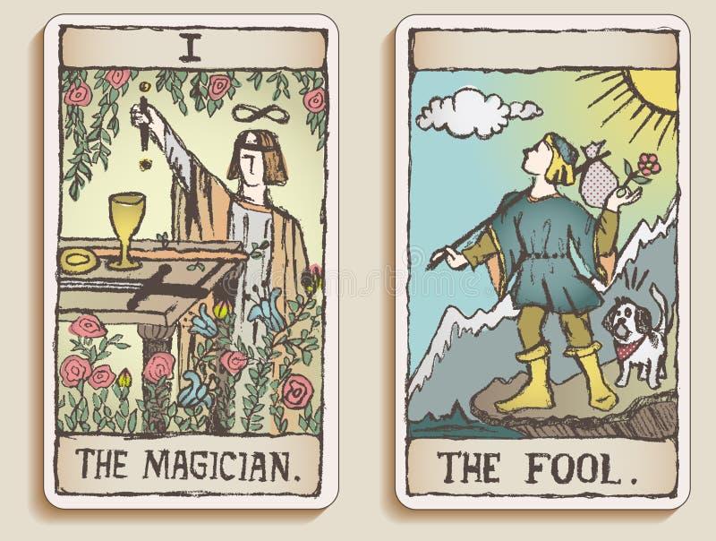 Dos tarjetas de Tarot ilustración del vector
