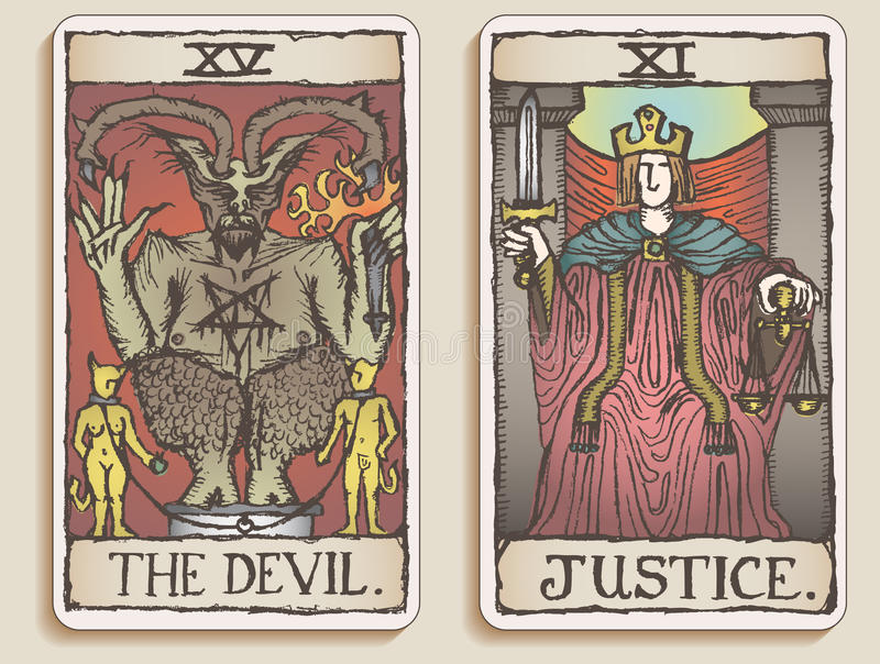 Dos tarjetas de Tarot v.3 stock de ilustración