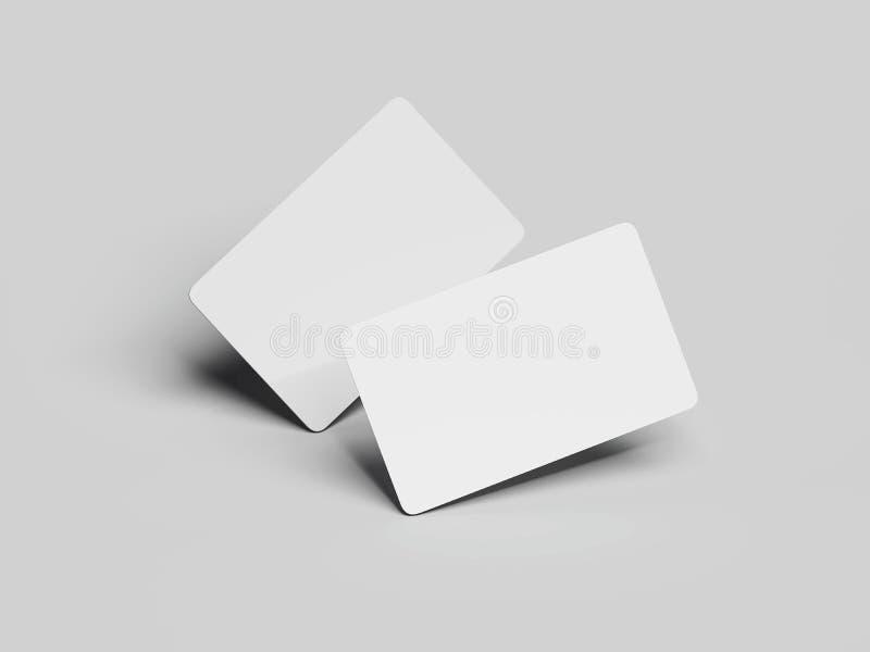 Dos tarjetas de visita blancas con las esquinas redondas representación 3d ilustración del vector