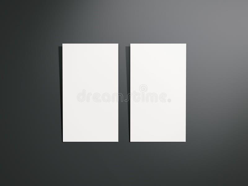 Dos tarjetas de visita blancas representación 3d stock de ilustración