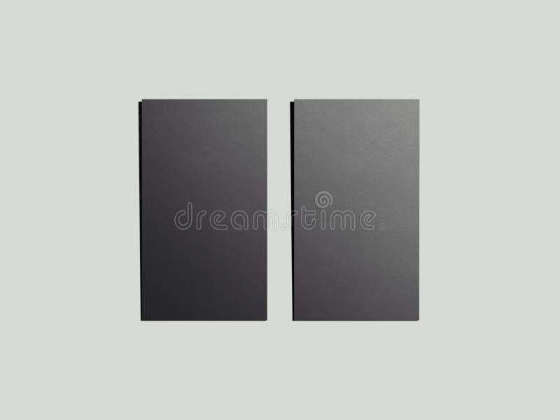 Dos tarjetas de visita negras representación 3d ilustración del vector