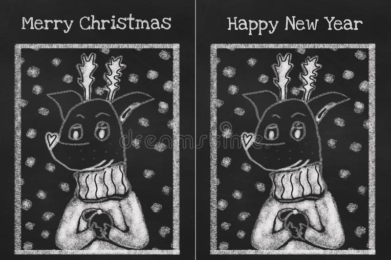 Dos tarjetas del suéter que lleva del perro acogedor para las vacaciones libre illustration