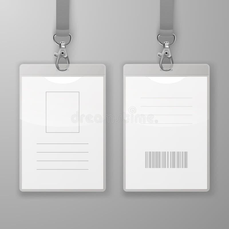 Dos tarjetas gráficas de la identificación de la oficina realista del espacio en blanco del vector con el corchete y Lanyard Clos stock de ilustración